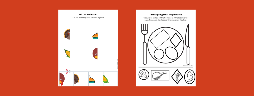 preview of thanksgiving preschool activity pages