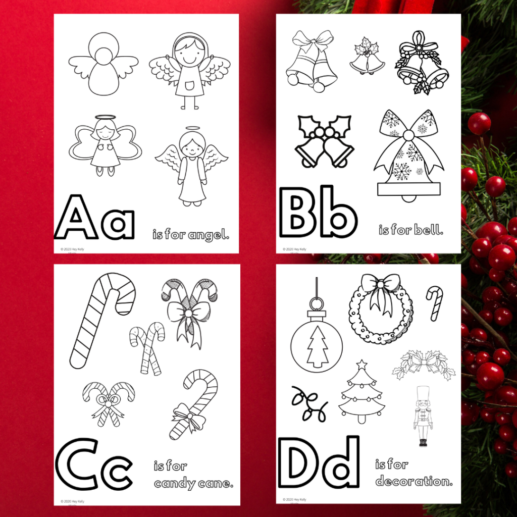 preview of A-D christmas and holiday alphabet coloring sheets for kids