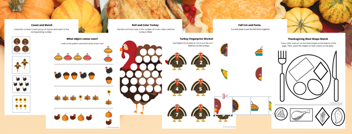 preview of thanksgiving preschool worksheets