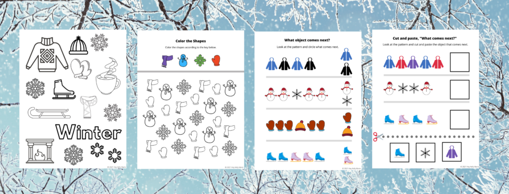 Pages 1-4 of the Winter Themed Worksheets