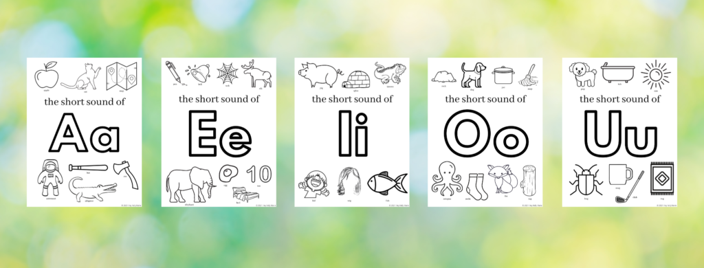 preview of show vowel sounds coloring pages