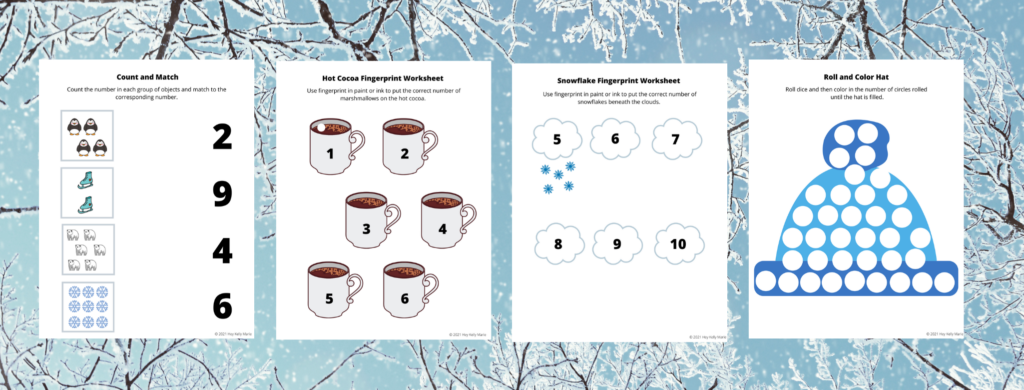 Pages 5-8 of the Winter Themed Worksheets