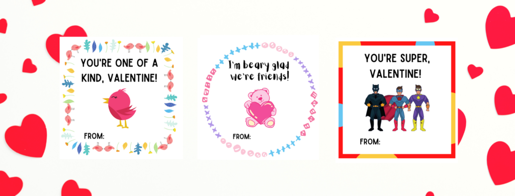 preview of 3 types of free printable valentines
