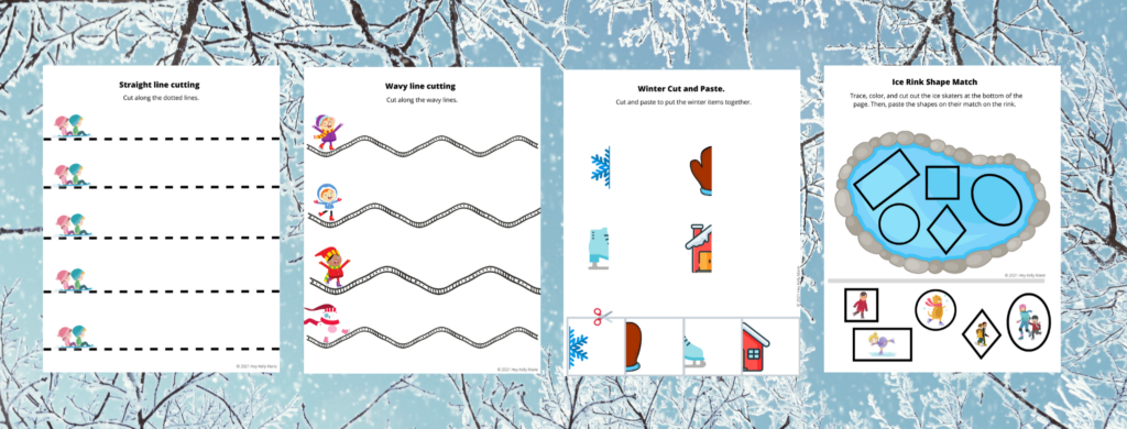 Pages 9-12 of the winter themed worksheets