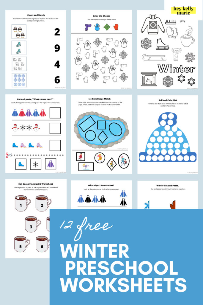 pinterest pin of winter themed worksheets activity bundle