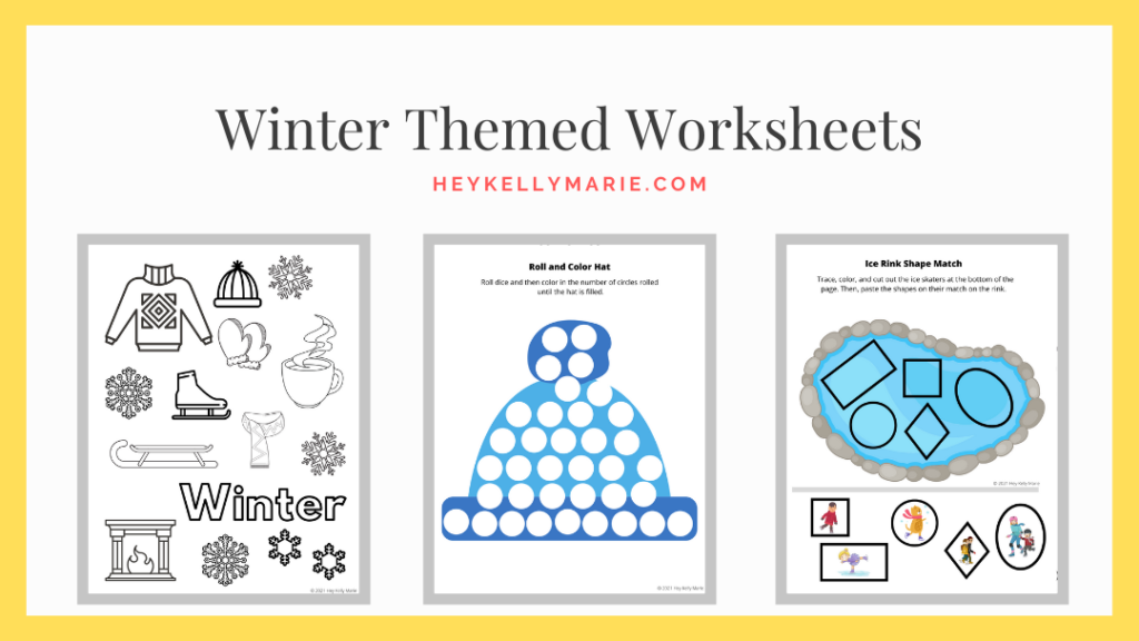 Image to download the printable winter themed worksheets
