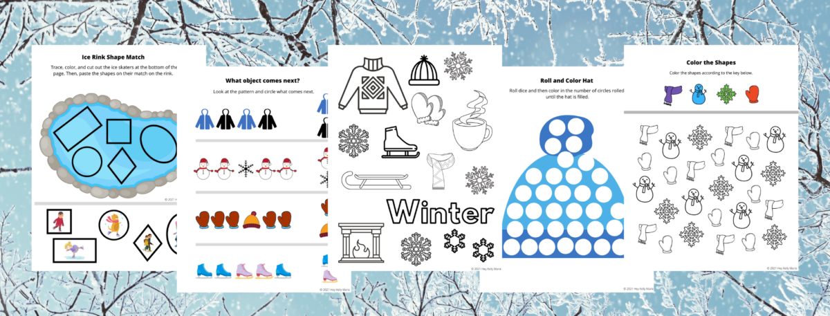 preview of winter themed worksheets