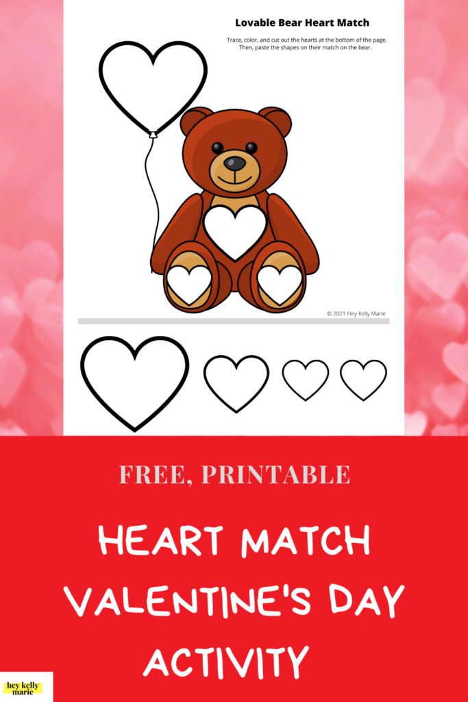 valentine's day activity for kids heart match free printable