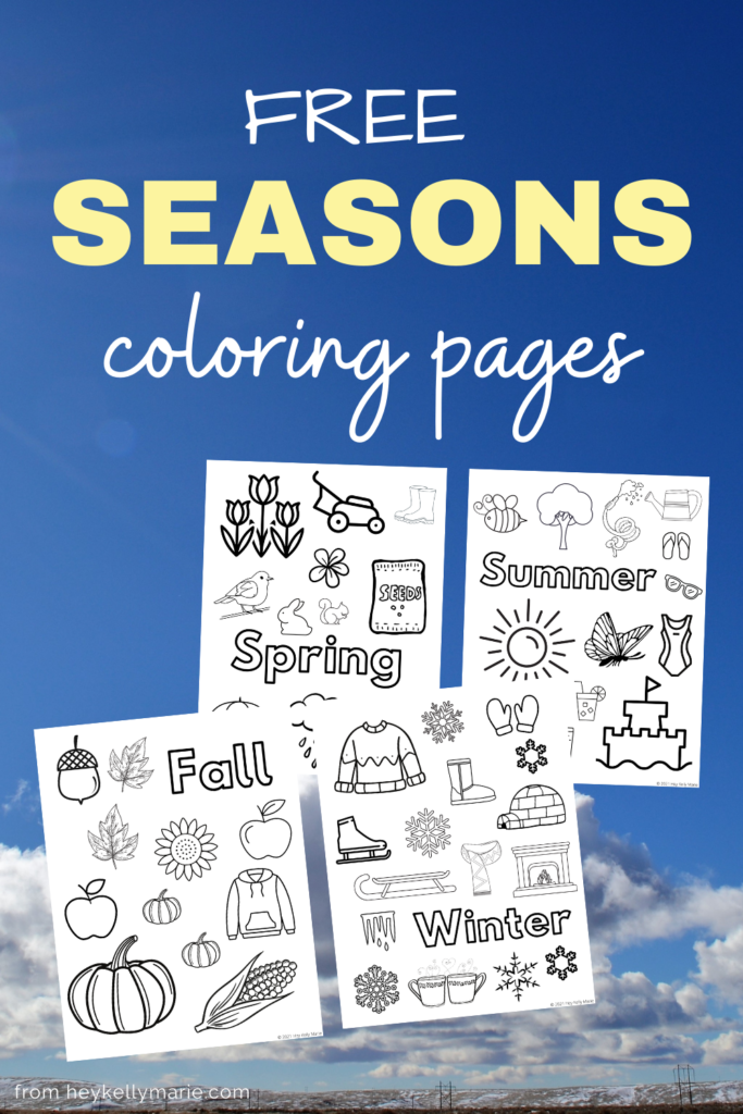 pinterest post describing free seasons coloring pages