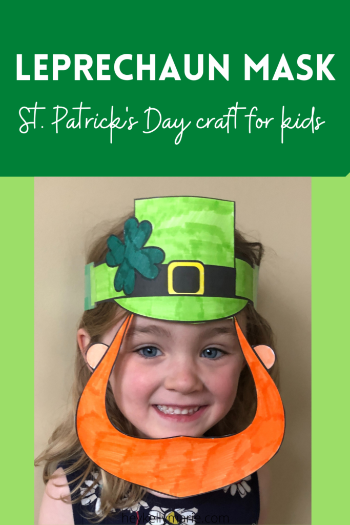 pinterest pin for leprechaun mask st. patrick's day coloring craft for kids