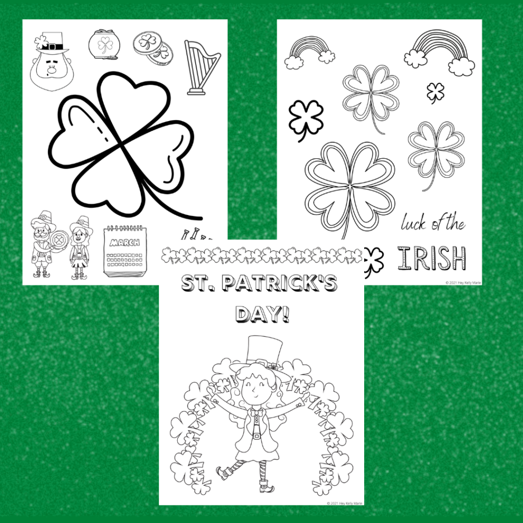preview images of st. patrick's day coloring pages