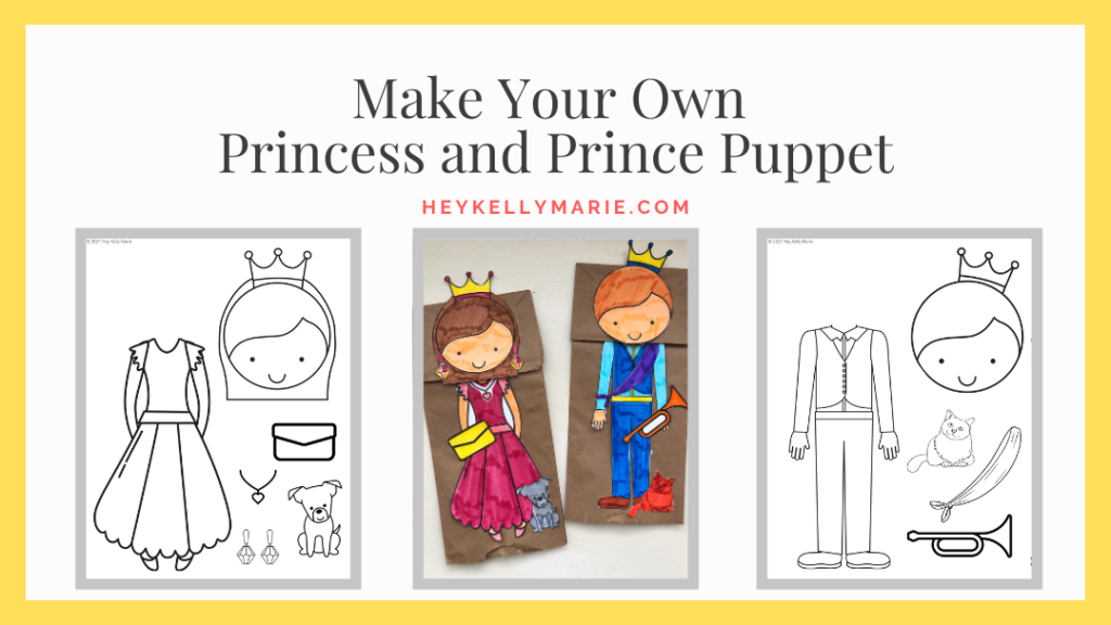 make your own princess and prince puppet sign on printable resources page
