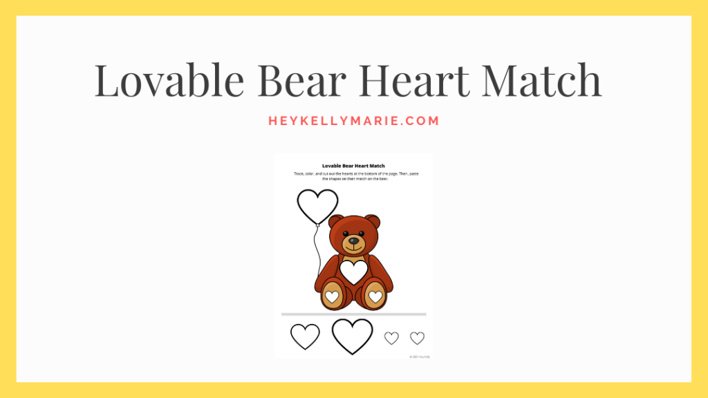 click here to get lovable bear valentine's day activity for kids