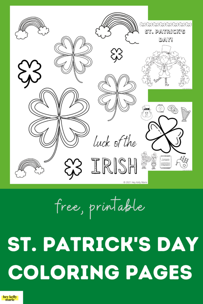 pinterest post with st. patrick's day coloring pages