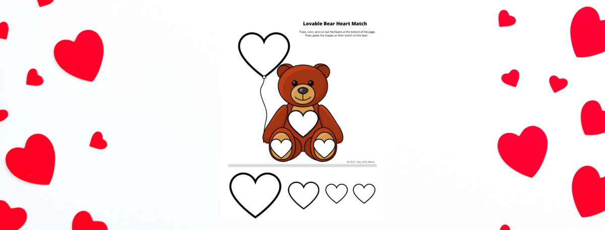 preview of bear heart shape match valentines day activity