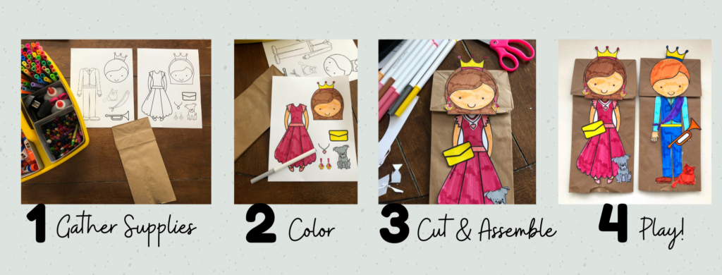 4 steps to make your own prince and princess puppets