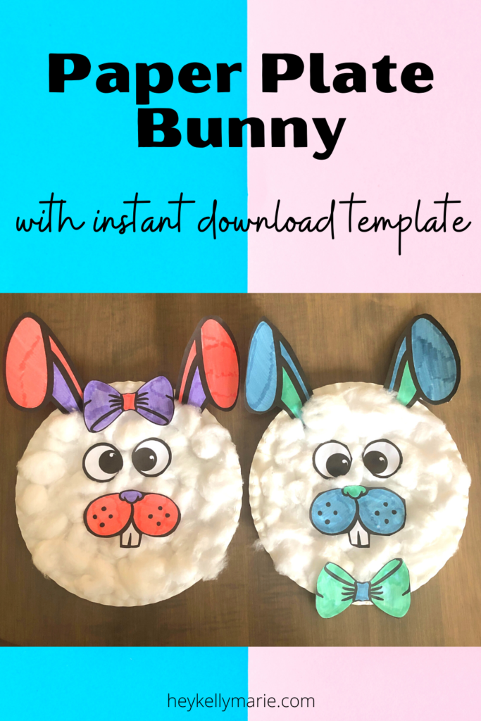 pinterest pin for paper plate bunny craft for kids