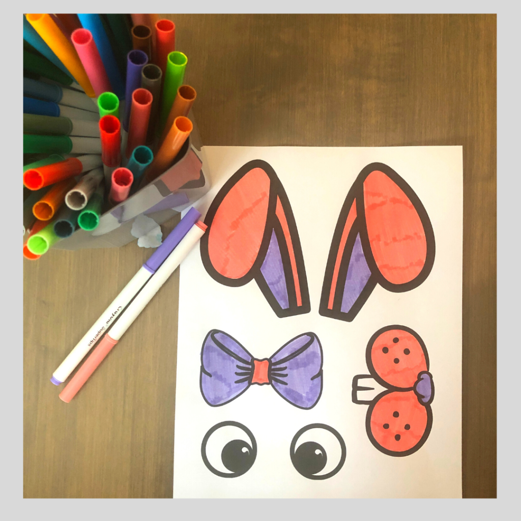 picture to show color step of making the paper plate bunny