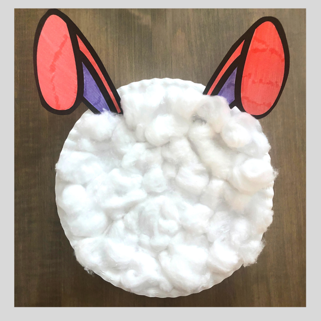 Glue the cotton balls on the paper plate bunny