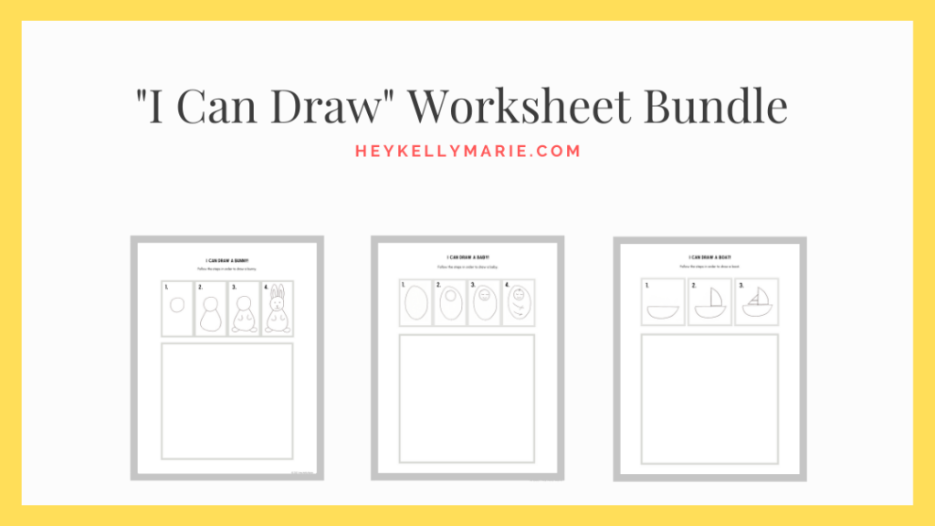 image to download the I can Draw worksheet bundle drawing activity for kids