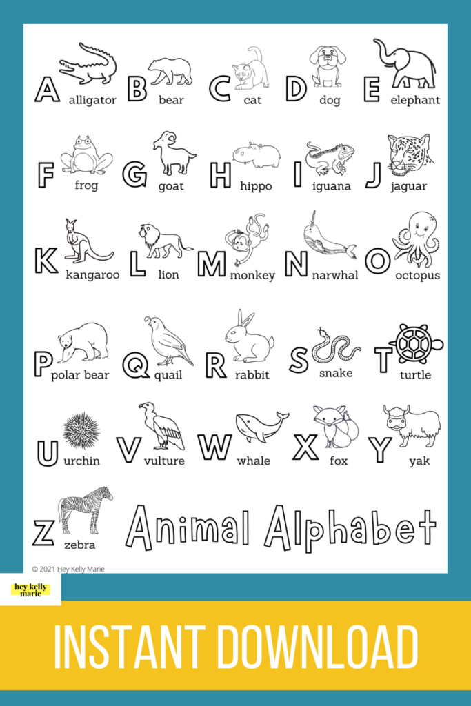pinterest pin of animal alphabet coloring page