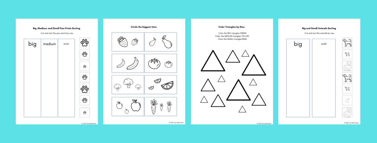 preview images of big and small worksheets