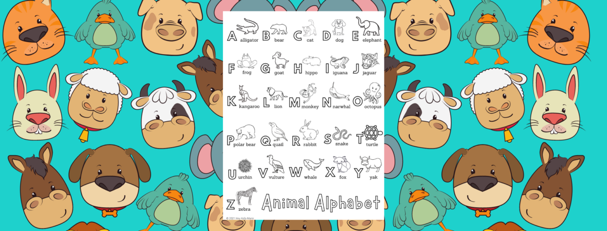 animal alphabet coloring page preview