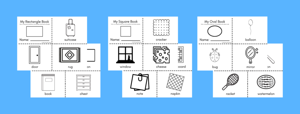 preview of My Shapes Books called my square book and my rectangle book for preschool and kindergarten kids to make