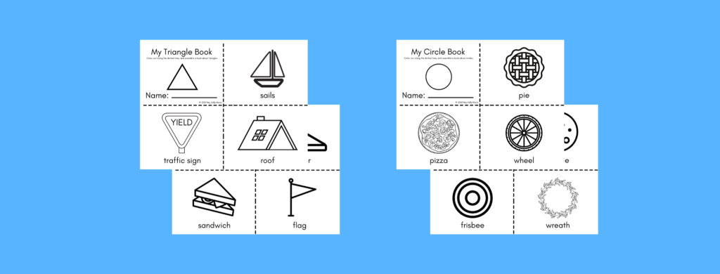 preview of My Shapes Books called my triangle book and my circle book for preschool and kindergarten kids to make