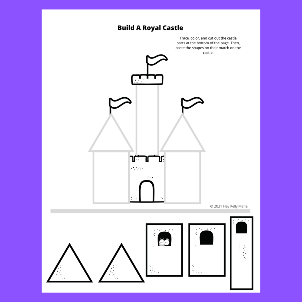 cut and paste castle activity for kids preview