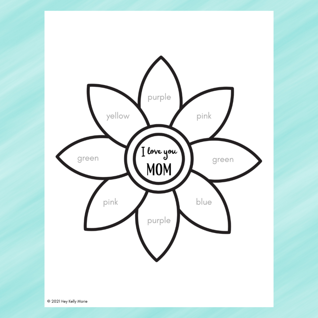 Free printable Flower Craft for mom template