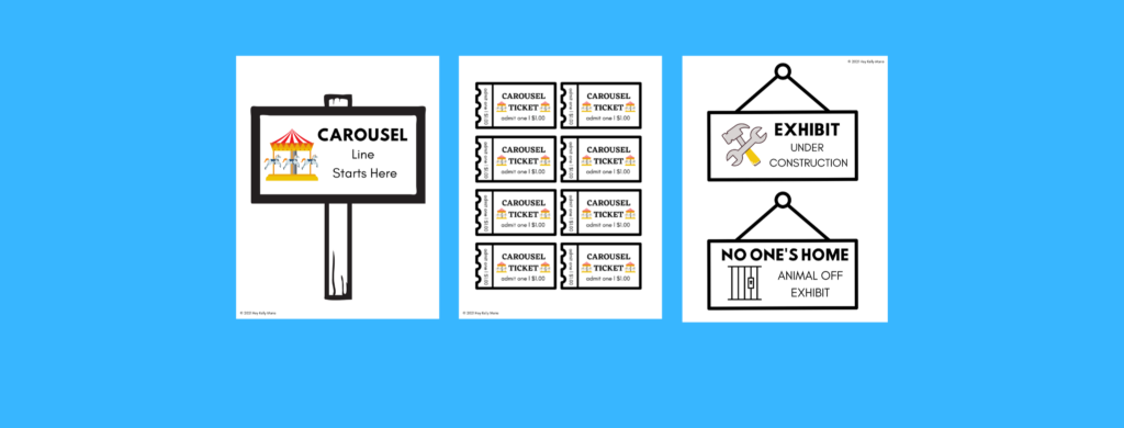 preview of carousel zoo dramatic play printables