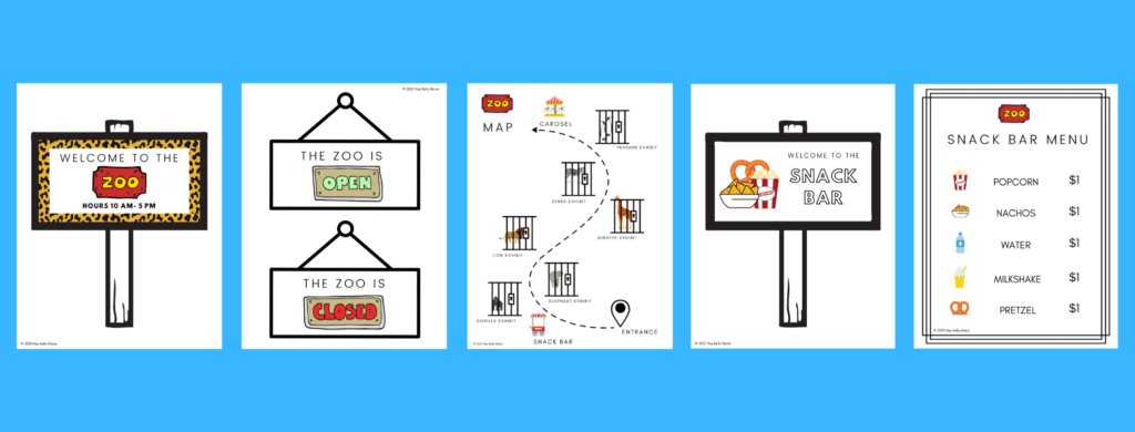 welcome to the zoo pretend play printables