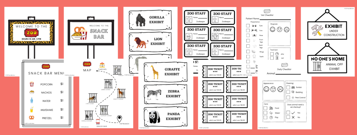 zoo dramatic play printable pages