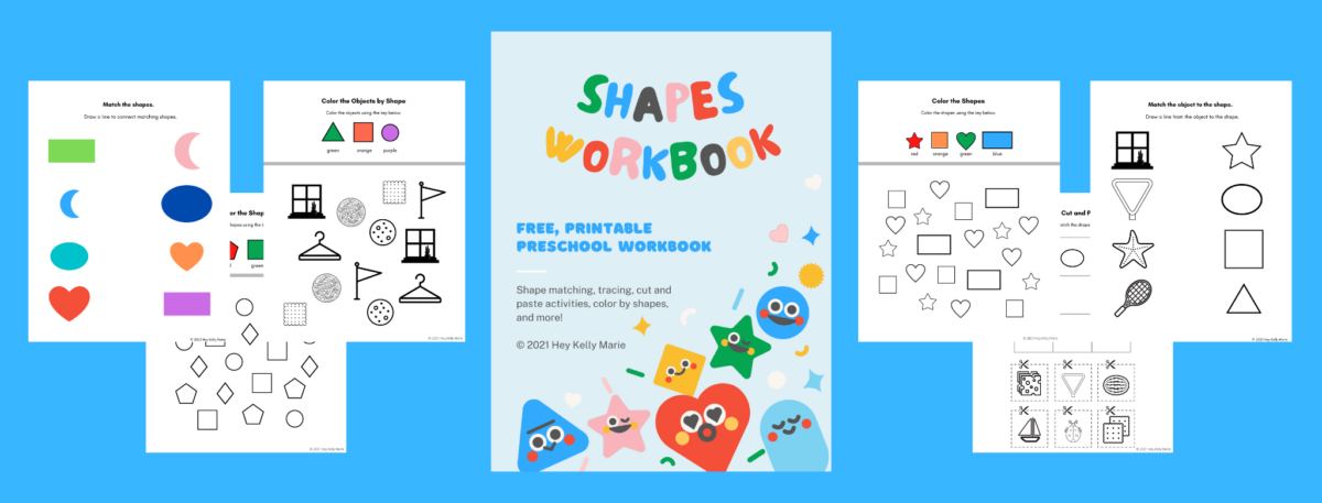 preview of free, printable shapes workbook